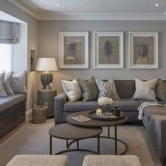 gray living room with wall art Tan living room Earthy living room Elegant living room