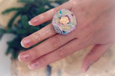 Flower ring Flower fabric ring Rose ring by KaGeyWonderworks, $8.00