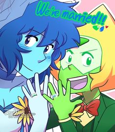 WE'RE MARRIED! It's their turn now! I've been thinking about their wedding dress since the day Reunited was airing, I really love the idea that Peri wearing suits waiting for Lapis walking to. Steven Universe Peridot, Steven Universe Stevonnie, Steven Universe Ships, Steven Universe Characters, Steven Universe Drawing, Steven Universe Movie, Universe Art, Lapidot, Steven Universe Stickers