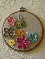 Crochet embellished embroidery hoop