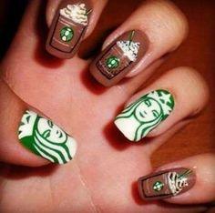 Starbucks Nails–finally a crazy nail design I could go for! Starbucks Nails–finally a crazy nail design I could go for!,Cute and Easy Nail Art Ideas Starbucks Nails–finally a crazy nail design I could go. Nail Art Designs, Shellac Designs, Crazy Nail Designs, Acrylic Nail Designs, Acrylic Nails, Nails Design, Nail Art Technique, Starbucks Nails, Harry Potter Nail Art