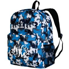 Monogram Backpack and Lunch Bag Set - Wildkin - Personalized - Blue Camo - Back to School Crackerjack by DesignsbyDaffy on Etsy