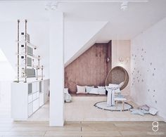 kids attic playroom/ reading zone / relax zone / bawialnia na poddaszu Attic Playroom, Oversized Mirror, Anna, Relax, Reading, Kids, Furniture, Home Decor, Young Children