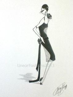 Fashion Art Illustration Gatsby Dress  by LinearFashions, $42.00 #fashionillustration #artgift #fashionart #gatsbydress #flapperdress #1920sfashion #1920sfashiondrawing
