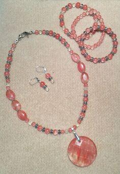 Cherry Quartz necklace earrings and 3 stackable bracelets, pewter