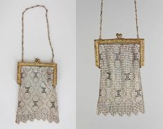Vintage 20s Purse / 1920s Whiting and Davis Art Deco Enamel Mesh Flapper Purse by FloriaVintage on Etsy