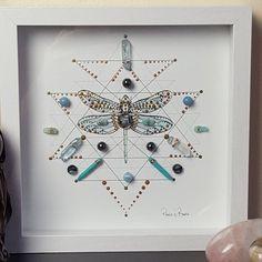 Dragonfly Symbolism, Dragonfly Art, Aqua Aura Quartz, Deep Relaxation, Creative Visualization, Shadow Box Frames, Crystal Grid, Felt Hearts, Framed Art