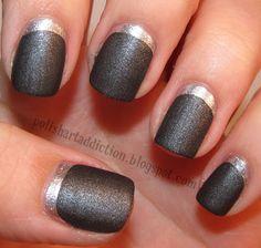 silver/gray matte nails