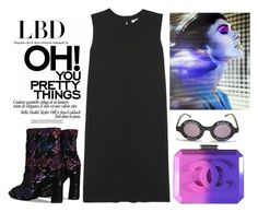 """""""Travel into future wearing LBD"""" by bibi-b ❤ liked on Polyvore featuring Roger Vivier, Chanel and Vince"""