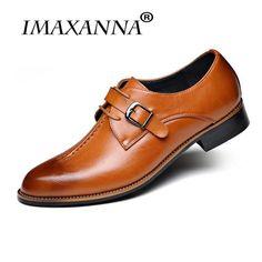Imaxanna 2018 New Men Dress Shoes Formal Wedding Genuine Leather Shoes  Retro Brogue Business Office Men  Flats Oxfords For Men 52b128509dc2