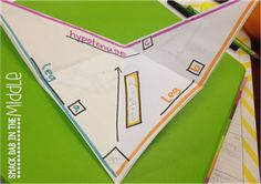THE PYTHAGOREAN THEOREM.  Directions for creating a foldable that is actually shaped like a triangle.