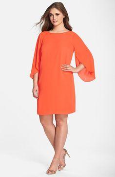London Times Tulip Sleeve Georgette Shift Dress (Plus Size) | Nordstrom