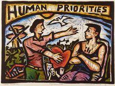 Nigel Brown Human Priorities Hand-coloured linocut 460 x Space Text, New Zealand Art, Colour Pattern, Jr Art, Maori Art, Brown Art, Mural Ideas, Gcse Art, Linocut Prints