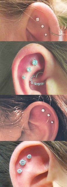 Piercings Ideas for ONLY the Trendiest! Ear Piercings Ideas for ONLY the Trendiest!Ear Piercings Ideas for ONLY the Trendiest! Innenohr Piercing, Ear Piercings Tragus, Cute Ear Piercings, Tattoo Und Piercing, Body Piercings, Cartilage Earrings, Stud Earrings, Upper Ear Piercing, Tongue Piercings