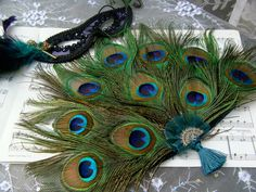 HandHeld Bridesmaid Peacock Feather Fan  CUSTOM by Ivyndell, $65.00