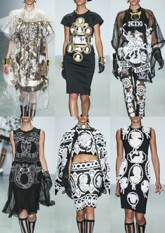 Top Runway #Fashion Prints And Textiles S/S 2015: KTZ #SS15: Ancient Greek Imagery – Neoclassical Inspiration – Black & White Colour Pallet – Cabochons Motifs – Mock-croc – Mesh & Opaque Applique