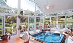 Tropical Hot Tub with Transom window