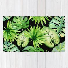 Buy tropical leaves on black #Rug by sylviacookphotography. Worldwide shipping available at Society6.com. #watercolor #tropical #hawaiian #green #leaves #palm #monstera #Boho #nature #botanical #plant #exotic #jungle #foliage #homedecor