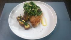 Whey-Brined Pork Chop with Ricotta-Stuffed Potato Cups & Watercress Salad by The Dorrance