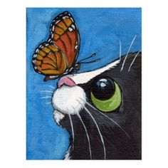 Tuxedo Cat and Viceroy Butterfly Postcard Painting & Drawing, Watercolor Paintings, Acrylic Paintings, Rock Painting, Butterfly Painting, Whimsical Art, Art And Illustration, Animal Paintings, Cat Art