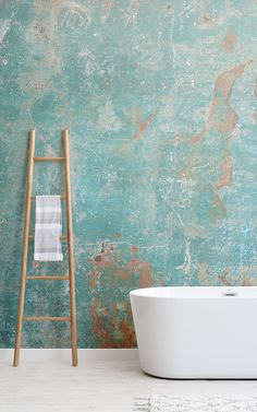 Teal Verdigris Wallpaper Mural Create a truly unique statement wall that reflects the wild textures Rustic Wallpaper, Bathroom Wallpaper, Teal Metallic Wallpaper, Turquoise Wallpaper, Textures Murales, Concrete Texture, Statement Wall, Faux Brick, Textured Walls