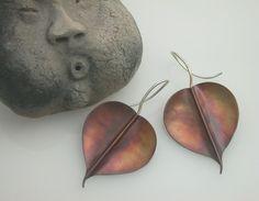 Bodhi Leaf Earrings Copper Large Pipal Buddha Leaf 134mc by ginkgo, $42.00