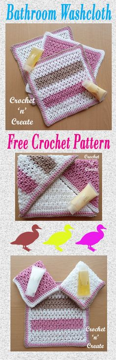 Free crochet pattern for bathroom washcloth made in 100% cotton. #crochet