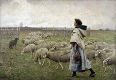 The return of the Flock or Shepherdess - C.Sprague Pearce 1885