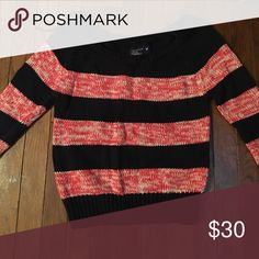 Sweater Navy and coral sweater. Off the shoulder American Eagle Outfitters Sweaters Crew & Scoop Necks