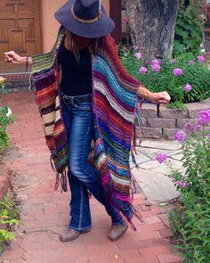 "Items similar to LONG Handknit Womens Bohemian Festival Hippie Beach Poncho Cape Shawl (""For Elyse"") on Etsy Crochet Cardigan, Knit Or Crochet, Crochet Scarves, Crochet Clothes, Crochet Hippie, Festival Hippie, Estilo Hippy, Look Boho, Mein Style"