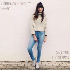 Ser diferente é ser único.  #lojaamei #Tricot #gola #cropped #jeans #skinny