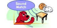 Beginning sound match for preschoolers. Click and drag objects. Directions given by sound.