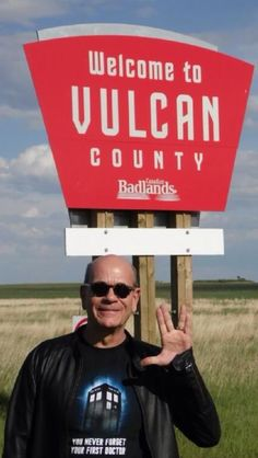 StarTrek: This picture wins on every level. Voyager's Doctor Robert Picardo wearing a Doctor Who shirt and standing in Vulcan county.                                                                                                                                                     More