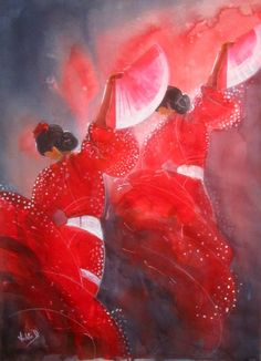 """ARTFINDER: Flamenco Rhythms (A Large Scale Water... by Violeta Damjanovic-Behrendt - """"Flamenco Rhythms"""" is inspired by the various artistic elements of flamenco: the singing, the dancing, the playing of the guitars and castanets, the compass ..."""