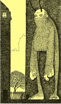 Post-it monsters by John Kenn Mortensen... monsters drawn on yellow post-it notes
