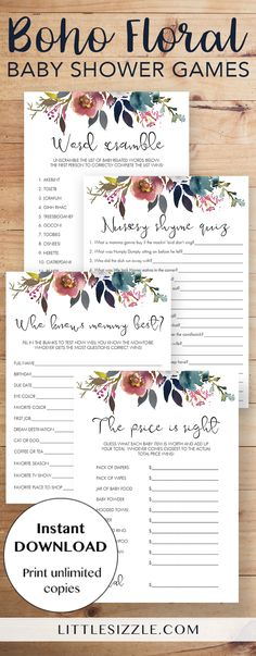 Boho floral baby shower games printable by LittleSizzle. Entertain your guests with this pack of popular printable baby shower games with gorgeous floral watercolor design. WOW everyone with your own baby shower games with pink and purple flowers. This printable boho themed game pack is perfect for any girl or neutral baby shower and will create lots of fun moments! The pack includes easy and popular games like baby word scramble, nursery rhyme quiz, who knows mommy best and the price is…