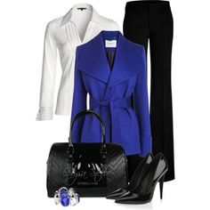 Love love love this jacket! NIC+ZOE Pleated V Top (white)/cobalt coat and ring/black slacks, pumps, and bag