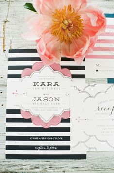 Pink and navy wedding invitations | Jenna Henderson Photography | see more on: http://burnettsboards.com/2015/04/preppy-summer-garden-wedding/