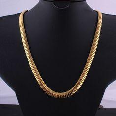 High quality Necklace 24K Gold plated Link Hip Hop Franco Snake 60451db36074
