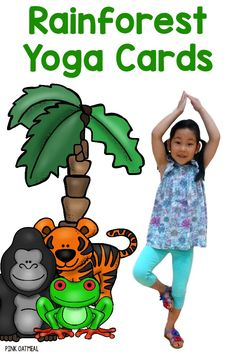 Yoga cards with a Rainforest theme! They are so cute and I love how there are real kids in the poses. Perfect with a Brazil unit for the summer Olympics! Rainforest Preschool, Preschool Jungle, Rainforest Theme, Rainforest Animals, Amazon Rainforest, Preschool Classroom, Jungle Animals, Rainforest Crafts, Kindergarten