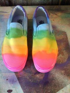 Very cool! These are on Etsy for $75 but you could easily make your own with a pair of white slip ons and a tye-dye kit or kool-aid! #DIY