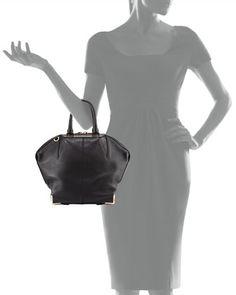 Alexander Wang Emile Pebbled Leather Angled Tote Bag, Black