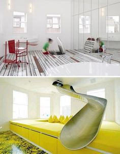 25 Amazing Secret Passageways Built into Homes  Possible partial attic area playroom with this leading down to main playroom?