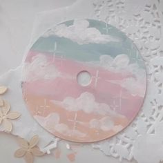 adding some glossy varnish to my CD💕 Cute Canvas Paintings, Small Canvas Art, Diy Canvas Art, Easy Paintings, Vinyl Record Art, Vinyl Art, Cd Crafts, Cd Art, Aesthetic Painting