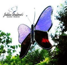 Purple and Plum Butterfly Stained Glass by JBsGlassHouse on Etsy