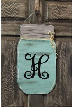 a look at this Seafoam Mason Jar Initial Door Hanger today!, Take a look at this Seafoam Mason Jar Initial Door Hanger today!, Take a look at this Seafoam Mason Jar Initial Door Hanger today! Initial Door Hanger, Wooden Door Hangers, Pot Mason Diy, Mason Jar Crafts, Mason Jar Kitchen Decor, Rustic Kitchen, Chalk Paint Mason Jars, Painted Mason Jars, Diy Home Decor Projects
