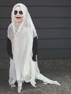 Simple and spooky handmade ghost costume  sc 1 st  Pinterest & No Sew Ghost Poncho Costume-3 | Fun for Derek | Pinterest | Ponchos ...