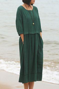 Linen dress Cotton Maxi dress 3/4 sleeve Casual loose long dress Custom-made Plus size dress Autumn Large size dress plus size Women Dresses par Luckywu sur Etsy https://www.etsy.com/fr/listing/247496658/linen-dress-cotton-maxi-dress-34-sleeve