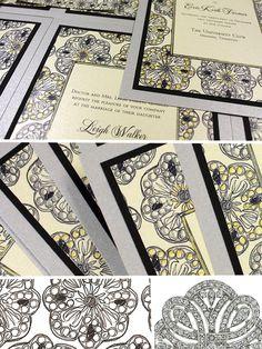 Wedding invitations inspired by Art Deco era jewelry