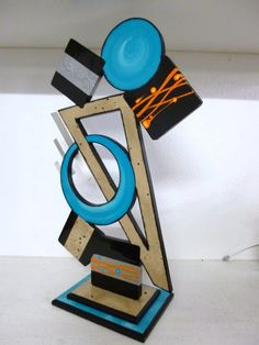 """New Abstract Table top Sculpture """"Tango"""" Contemporary,Modern,Geometric design wood with metal"""